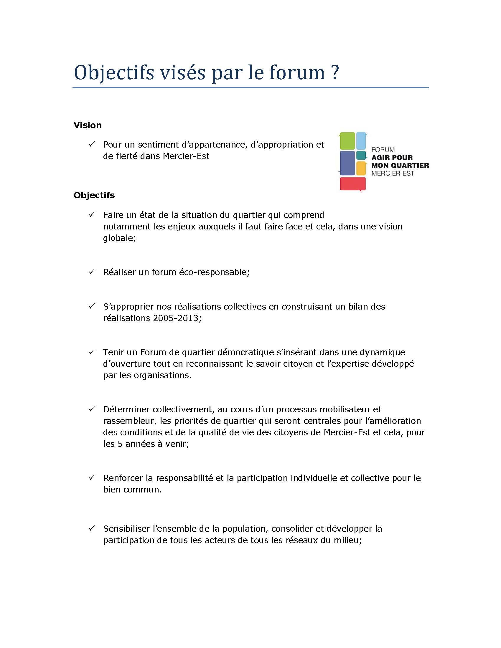 Objectifs visé par le forum site web